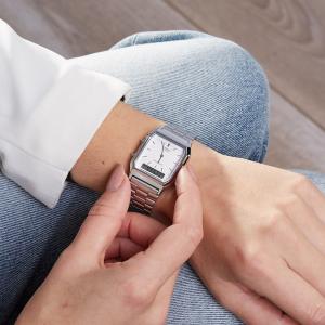 $34.94(原价$38.99)Casio 数字石英双显超薄不锈钢手表 十年不用换电池