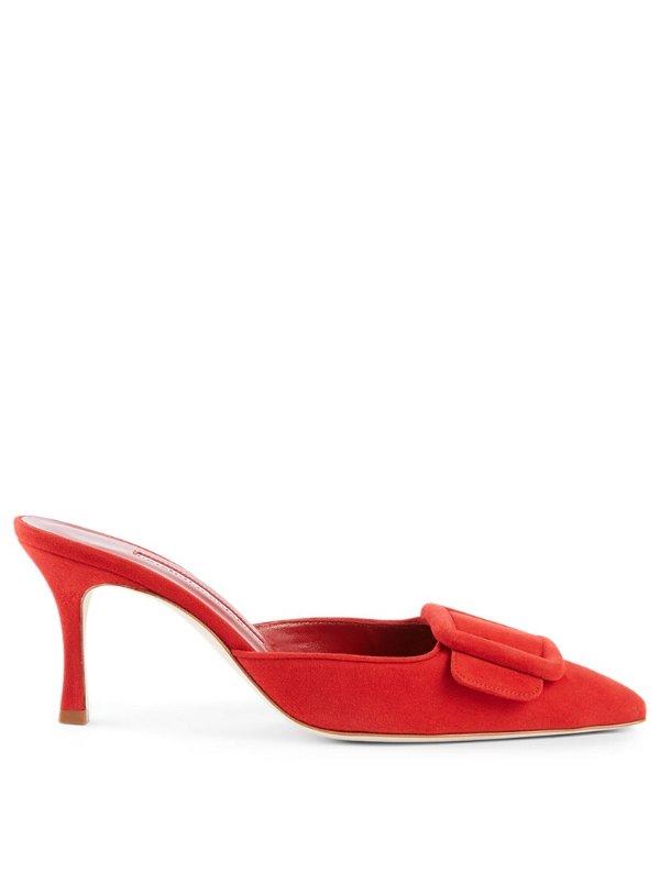 方扣麂皮穆勒鞋
