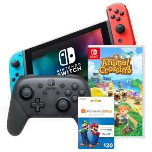 $449.99预售:Nintendo Switch 主机 + 动森 + Pro手柄 + 礼卡 套装