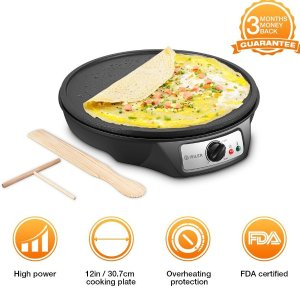 $25.95Maximatic Elite Cuisine ECP-126 Electric Crepe Maker and Non-stick Griddle with Spreader, Spatula and Recipes, 12