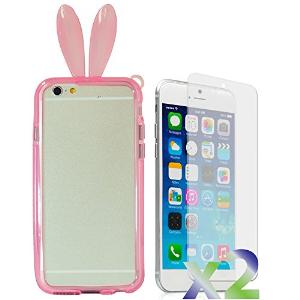 $6.96包邮(原价$48.86)Exian Iphone 6/7/8 plus 兔耳朵手机壳 送2张屏幕保护膜