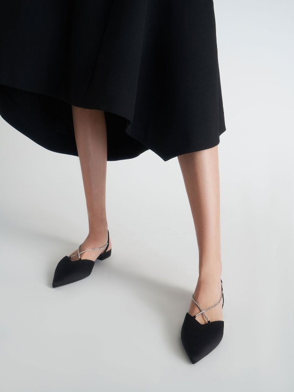 钻链平底鞋