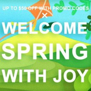 最高立省$50JoyBuy 春季促销 搭配折扣码更超值