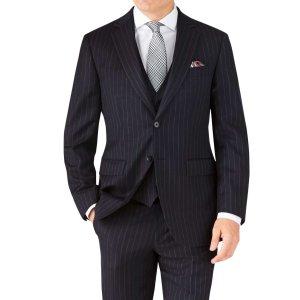 Navy stripe classic fit 男士西装
