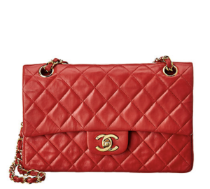 Chanel Red Quilted Lambskin Leather Small Double Flap Bag