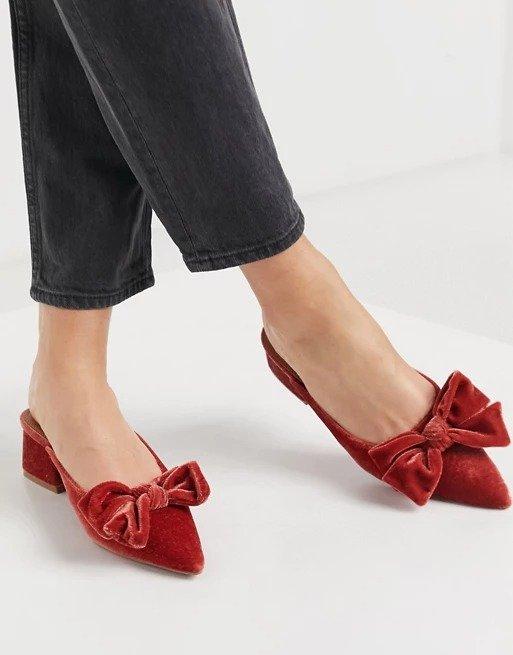 蝴蝶结丝绒平底鞋