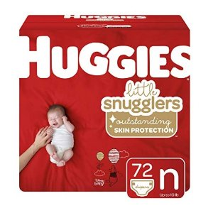 Huggies Little Snugglers Baby Diapers, Size Newborn (up to 10 lb.), Big Pack, 72 Count