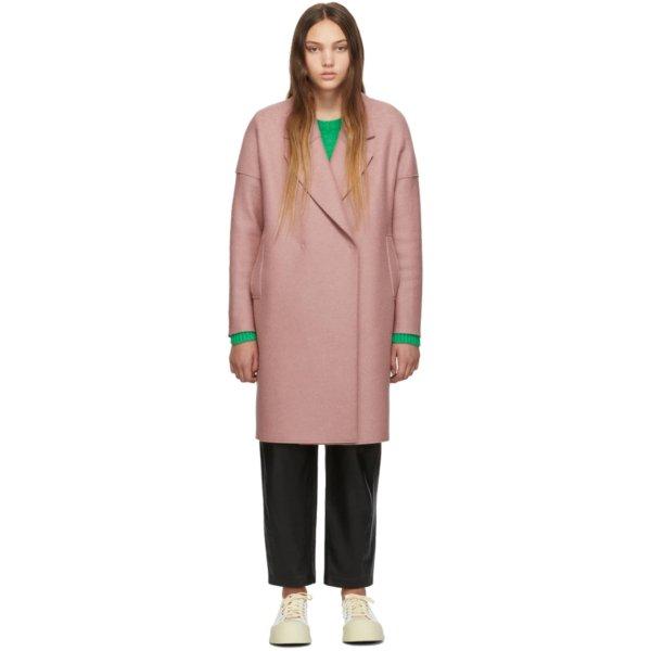 樱花粉羊绒大衣