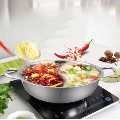 仅售€32.22 火锅在家随时搞起Bestonzon 鸳鸯锅+锅盖 三鲜/麻辣/菌菇/番茄 同时满足2个锅底