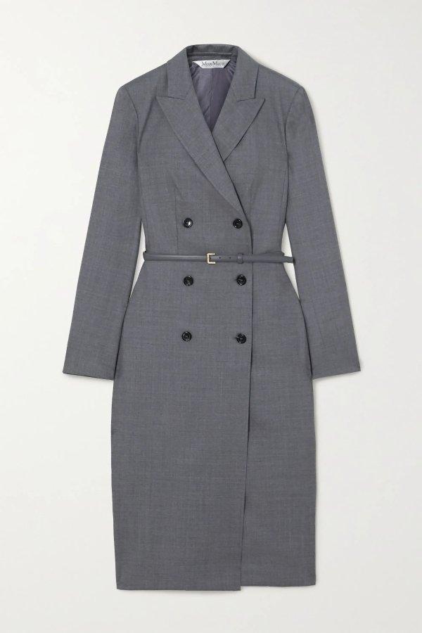 双排扣系带修身西装连衣裙