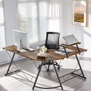 带增高架L型长书桌只要$68独家:YAHEETECH 实用电脑桌多款史低,细节贴心 效率倍增