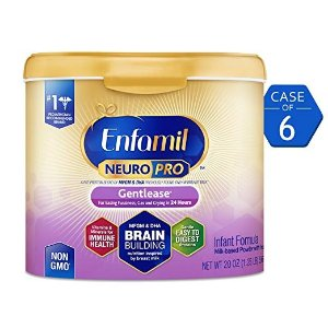 Enfamil35% off + extra 5% offNeuroPro Gentlease Infant Formula - Clinically Proven to Reduce Fussiness, Gas, Crying in 24 Hours - Brain Building Nutrition Inspired by Breast Milk - Reusable Powder Tub, 20 oz (Pack of 6)