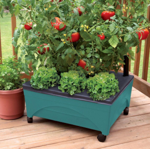 $19Patio Raised Garden Bed Grow Box Kit with Watering System and Casters in Terra Cotta
