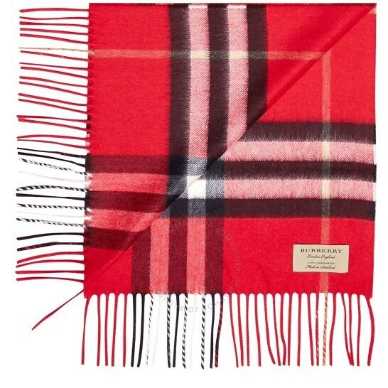 经典大红色苏格兰纹围巾