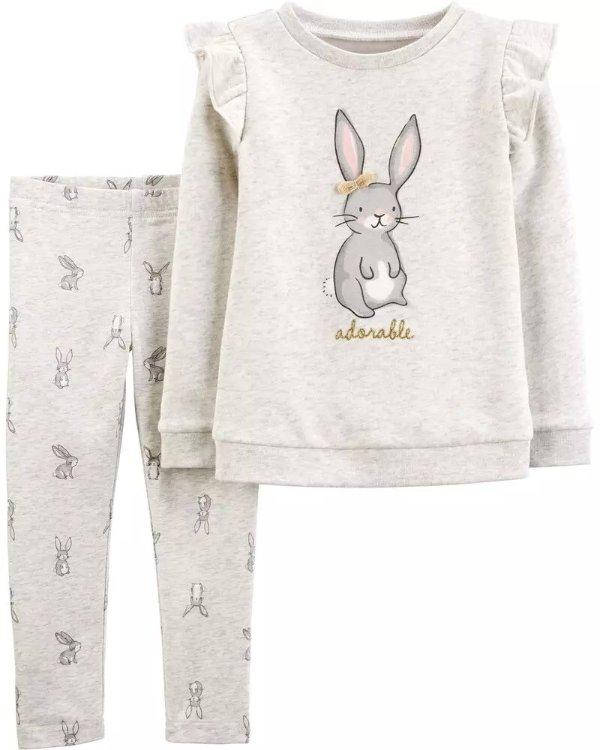 婴儿小兔抓绒卫衣2件套