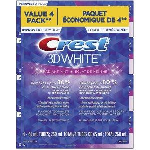 $6.62 单支$1.66Crest 3D炫白美白牙膏4支x65g 薄荷味清新口气