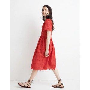 Scalloped Eyelet Midi Dress