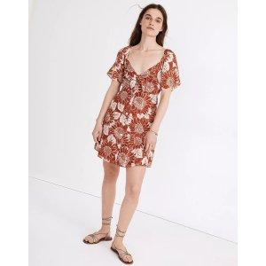 MadewellSilk Tie-Front Mini Dress in Sunflower Season