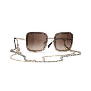 Chanel可拆卸链条方框墨镜