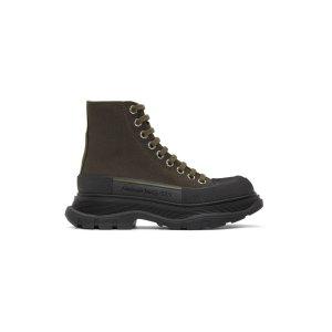 Alexander McQueenGreen & Black马丁靴