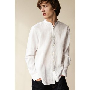 Slim Band-Collar Linen Shirt