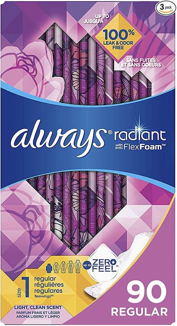 Radiant 护翼卫生巾普通流量清香型 3包 90片