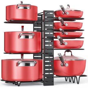 $28.98(原价$38.99)MUDEELA 三合一 锅具收纳架 同类产品销量第一 可放8个锅具