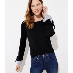 LOFTTie Cuff Mixed Media Sweater | LOFT
