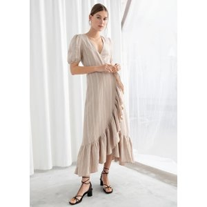 Ruffled Linen Wrap Midi Dress