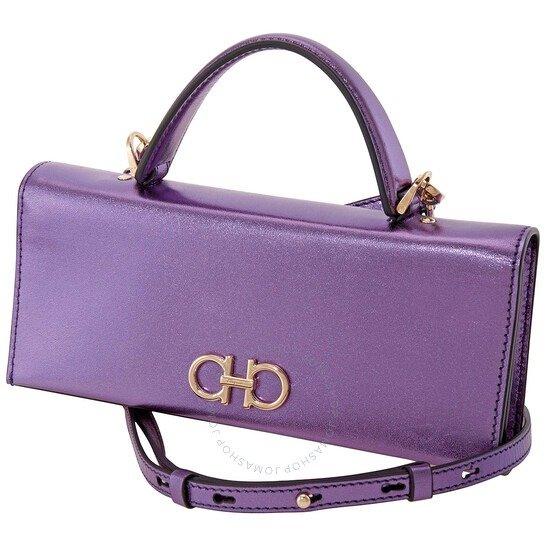 Ladies Gancini紫色托特小包