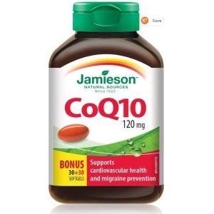 $17.79(原价$25.99)Jamieson 健美生 CoQ10  辅酶Q10 120毫克 60粒装促销