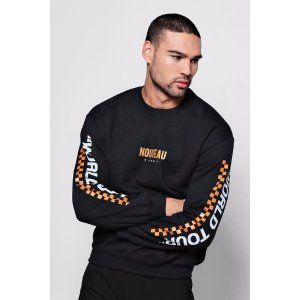 Slogan Checkerboard Sweater - boohooMAN