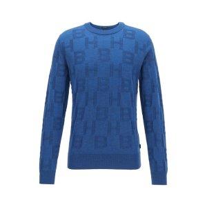 BOSS Regular-fit sweater in virgin wool with monogram pattern