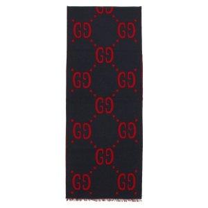 Gucci美国官网定价$460红黑拼色双面围巾