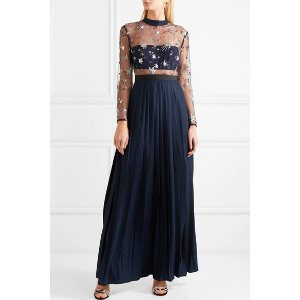 Self-PortraitEmbellished tulle and pleated crepe de chine maxi dress