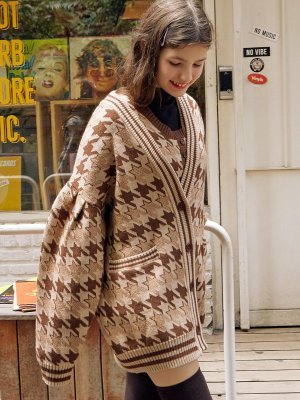 Cd 19731 Hound Tooth Cardigan Brown | W Concept