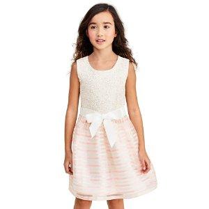 The Children's PlaceGirls Sleeveless Metallic Striped Knit To Woven Dress