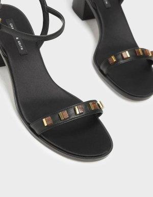 Black Embellished Heeled Sandals | CHARLES & KEITH US