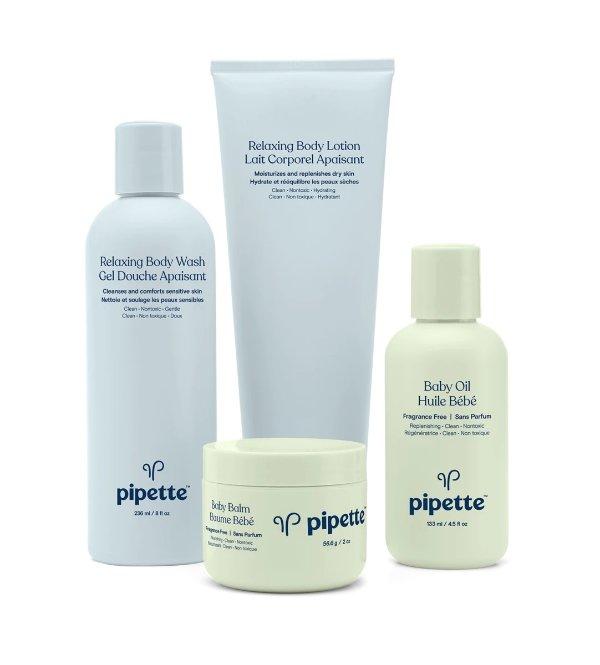 放松系列沐浴液+润肤乳液+婴儿霜+婴儿油