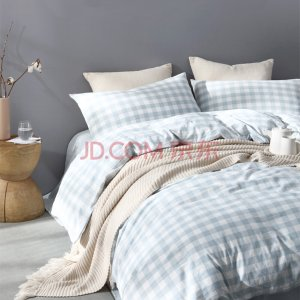 网易严选 水洗棉格纹四件套 纯棉床上用品套件四件套床单被罩双人 水蓝色 1.5米床(被套200x230cm)