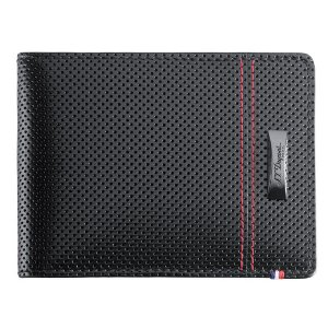$129.99S.T. Dupont 170401MC McLaren Series 6 Card Holder Defi Collection Black Perforated Calfskin Leather With Contrasting Red Top-Stitching Wallet