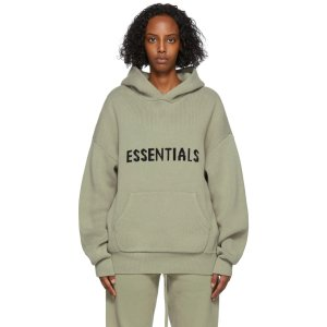 Essentials卡其色针织连帽衫