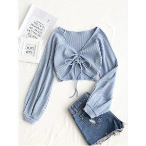 ZafulTextured Knitted Gathered Top DEEP PINK GREY BLUE