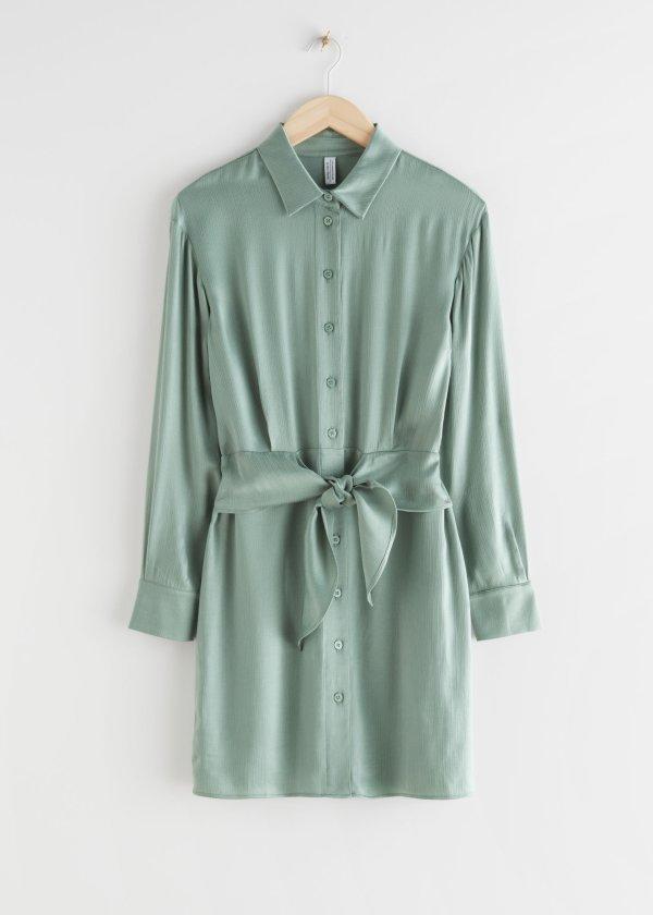 系带缎面衬衣裙