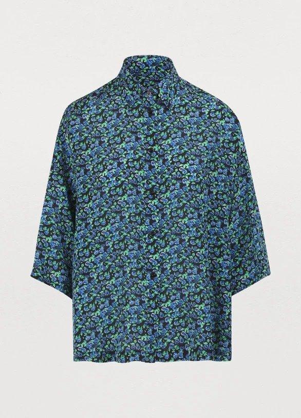 丝绸花衬衣