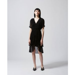 The KooplesFrilly long black dress with plunging V-neck