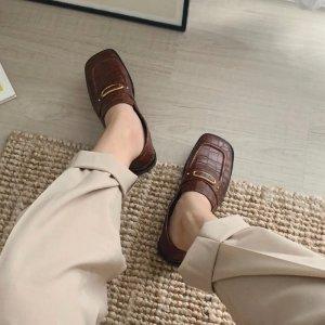 Mango爆款方头小皮鞋