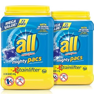 $13.22all Mighty Pacs Laundry Detergent, Stainlifter, 72 Count, 2 Tubs, 144 Total Loads @ Amazon