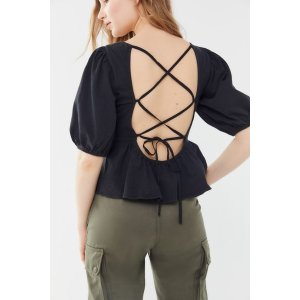 35423564b38f Urban OutfittersUO Rosaleen Strappy Tie-Back Pelum Top