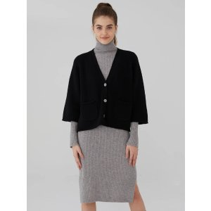 Wool Cashmere Cropped Chunky Cardigan